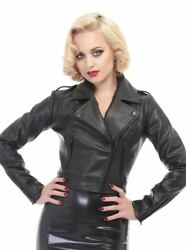 New Collectif Vintage Inspired Retro Black Faux Leather Biker Jacket Pinup