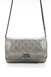Chanel Womens Boy Wallet On Chain Crossbody Handbag Quilted Leather Gray