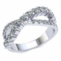 Genuine 2ct Round Cut Diamond Twisted Crossover Wedding Band Ring 18k Gold