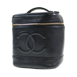 CHANEL CC Vanity Cosmetic Bag Caviar Skin Black Leather Vintage Auth #G82 W