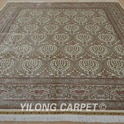 YILONG 8.25'x10.25' Persian Handknotted Silk Carpet Pineapple Classic Rug 0325