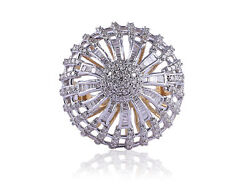 Pave 1.68 Cts Round Brilliant Cut Natural Diamonds Cocktail Ring In 14karat Gold
