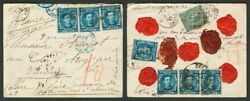 Spain. About 175(7) 183. 1877. 10 cts blue seven stamps (cuatro on the back)