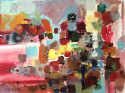 Pita Rubin 1923-1975 , Large Oil On Canvas, Colorful Abstract , Signed