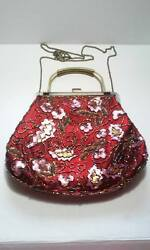 Evening Clutch bag Vintage style. Exquisite embroidered with bronze hanger