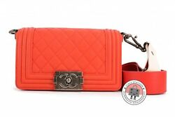 New A67085 Boy Flap Orange Red Lambskin Small Shoulder Bags Sbhw Authenti