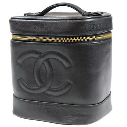 CHANEL CC Vanity Cosmetic Bag Caviar Skin Black Leather Vintage Auth #Z131 I