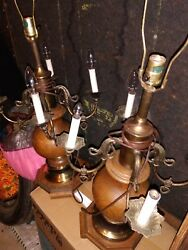 2 table lamps wooden metal bouillotte candelabra 4 candle lights mid century