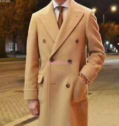Men Wool Double Breasted Dress Trench Formal Casual Parka Coat Jacket British