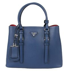 Prada Double Tote Leather Bag 1BG883 F0021  InchiostroInk Blue  Small $1,599.00