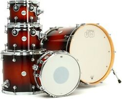 DW DESIGN SERIES 4 PIECE DRUM SET LOT TOBACCO BURST WITH BAGS