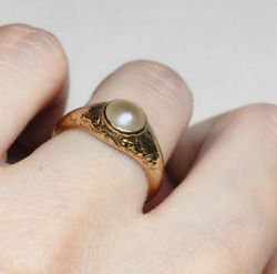 Vintage 2ct Round Pear Bezel Set Carved Valentines Ring Yellow Gold Finsh Silver