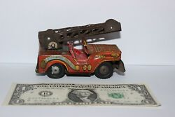 Vintage 1950s Japan Fire Chief Dept Jeep Fd Truck Tin Toy Friction Car