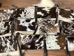 Real Cowhide Wristlet Clutch Purse Handbag Chocolate Leather Lined 8.5quot;x5.5quot; $38.00