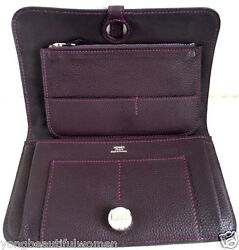 New Hermes Togo Leather Dogon Long Wallet  Limited Edition Rare Purple
