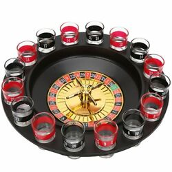 Russian Lucky Shot Roulette Drinking Game With 16 Glass Spin Wheel Board Game