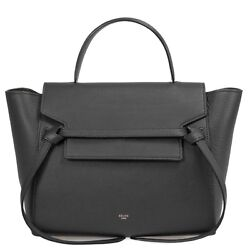 Celine Medium Belt Bag in Black Grained Leather with Gold Hardware