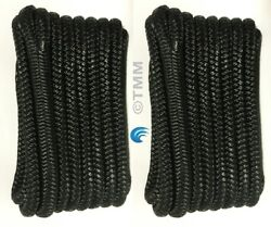 2 Black Double Braided 1/2 X 20' Ft Boat Marine Hq Dock Lines Mooring Ropes