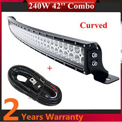Curved 240w 42''in Led Work Light Bar Combo Waterproof Trailer Chevrolet+harness
