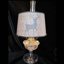 12 Aladdin Deer On Burlap And Vines Parchment Shade For Alladin Lamp