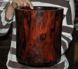Old Red Rosewood Wood Carved Calligraphy Tool Live Bottom Brush Pot Pencil Vase