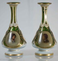 Pair Of Antique Bohemian Glass Overlay Moser Vases W/ Hand Painted Portraits