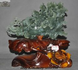 China Fengshui Natural Green Jade Xiuyu Carved Coin Cabbage Baicai Wealth Statue