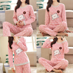 Cute Women Girl Cartoon Cotton Pajama Sets Comfortable Cotton Animal Sleepwear
