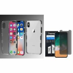 For Apple iPhone XS X Bumper TPU Rubber Case Cover wPrivacy Screen Protector