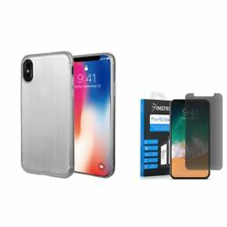 For iPhone XS X TPU Rubber Gel Brushed Case wPrivacy Glass Screen Protector