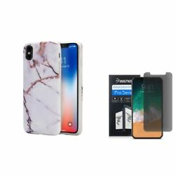 For Apple iPhone XS X Marble TPU Rubber Cover Case wPrivacy Screen Protector