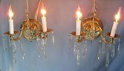 Pair Vintage Brass Wall Lamp Sconces Electrified W/26 Crystal Prisms