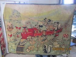 Vintage Area Rug Disney Mickey Mouse & Friends on Train 45 x 61 in.
