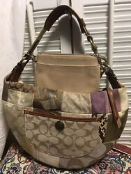 Coach Patchwork Hobo Small Tight Shoulder Handbag 10019 w Coach Gold Wristlet $33.95