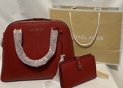 MICHAEL KORS RED DOME SATCHEL PURSE AND ADELE SLIM BIFOLD WALLET BUNDLE