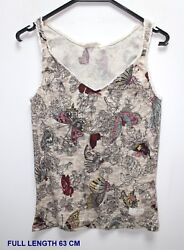 Odd Molly Woman Lady Top Shirt Sleeveless Marked Size 3 Multi Color Butterfly