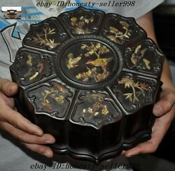Rare Old Chinese Rosewood Inlay Shell Plum Orchid Bamboo Bird Storage Box Boxes