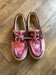 Womens Pink Plaid Sequins Size 6 Sperrys Top-sider
