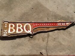 Vintage-look Bbq Barbeque Hand Painted Wooden Sign - 57 Long - Restaurant