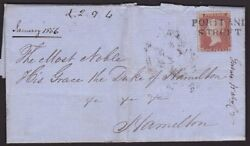 GB SCOTLAND 1856 cover 1d red PORTLAND STREET Scots local cancel............6458