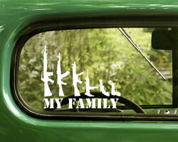 2 MY GUN FAMILY DECALs Assault Rifle handgun Sticker For Car Window Bumper Rv