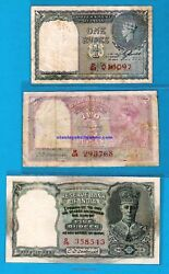 British India Red Serial Issue Kgvi Re 1 Rs 2 Rs 5 - Rare - Choose Your Note