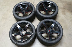 19 Project 6gr5 Gloss Black Ruby Red Wheels And Tires Ford Mustang S550 S197