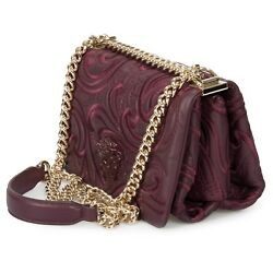 Versace Embroidered Baroque Palazzo Bag in Smooth Purple Nappa Leather $1,599.00