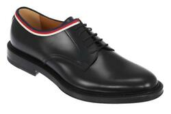 NEW GUCCI CURRENT BLACK LEATHER WEB TRIM OXFORD LACE-UP SHOES 8US 8.5