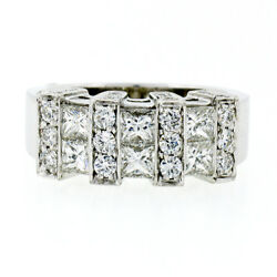 New 14k White Gold 1.72ctw Princess And Pave Round Diamond Wide Band Cocktail Ring