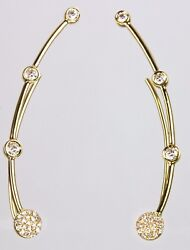 Long Ear Climber/earring With Diamond In 14k Yellow Rose Or White Gold D 0.29