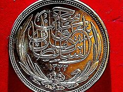 MUSEUM ITEM   EGYPT 1916 20 PIASTER SILVER . SULTAN H.C#PROOF UNC
