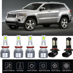 6xNEW  Ice Blue For Jeep Grand Cherokee 17-18 LED Head Lights & Fog Light Bulbs