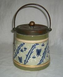 Antique 1890s Macintyre And Co Harry Barnard Faience Pottery Moorcroft Biscuit Jar